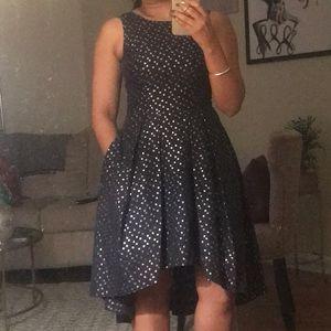 Shoshanna metallic dot jacquard dress